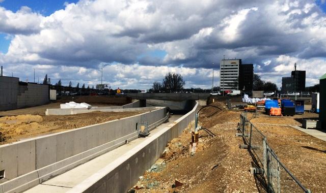 Bouwplaats van het A2 project te Maastricht